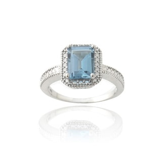 Glitzy Rocks Sterling Silver London Blue Topaz and Diamond Accent Cocktail Ring