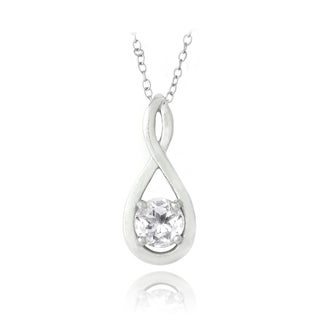 Glitzy Rocks Sterling Silver White Topaz Infinity Twist Necklace