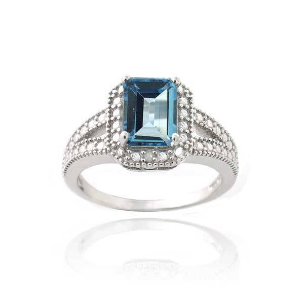 glitzy rocks sterling silver london blue topaz and diamond accent ring