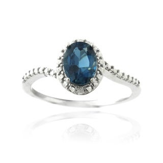 Glitzy Rocks Silver London Blue Topaz and Diamond Accent Oval Ring
