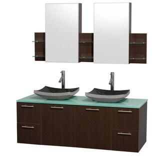 Wyndham Collection 'Amare' 60-inch Espresso/ Green Top/ Granite Sink Vanity Set