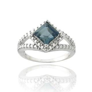 Glitzy Rocks Silver London Blue Topaz and Diamond Accent Square Ring