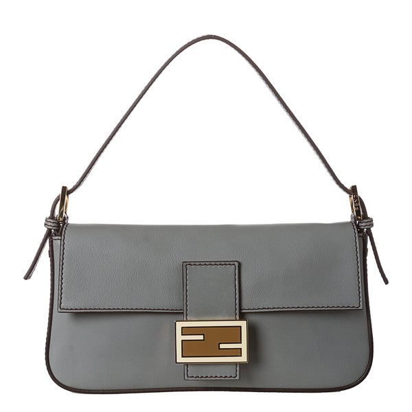 Fendi Grey Leather Baguette with Dual Straps
