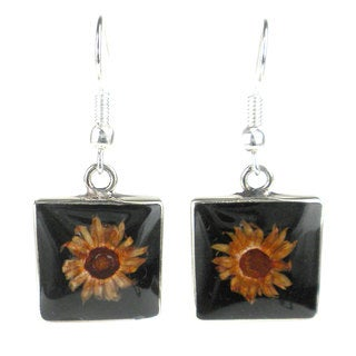 Handmade Alpaca Silver Small Square Nahua Flower Earrings (Mexico)