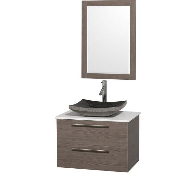 Wyndham Collection 'Amare' 30-inch Grey Oak/ White Top/ Granite Sink Vanity Set