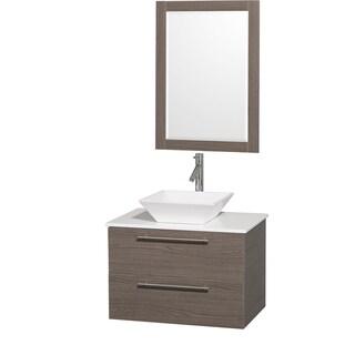 Wyndham Collection 'Amare' 30-inch Grey Oak/ White Top/ White Sink Vanity Set