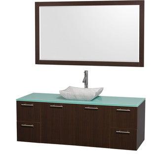 Wyndham Collection 'Amare' 60-inch Espresso/ Green Top/ Carrera Sink Vanity Set