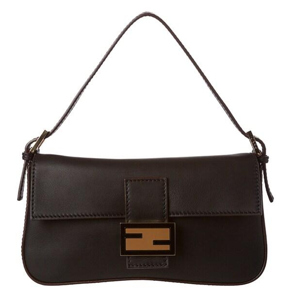 Fendi Black Leather Baguette with Dual Straps