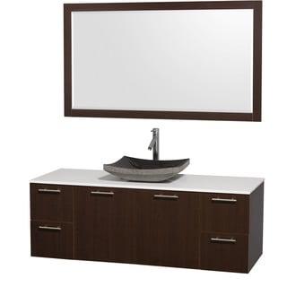 Wyndham Collection 'Amare' 60-inch Espresso/ White Top/ Granite Sink Vanity Set