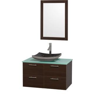 Wyndham Collection 'Amare' 36-inch Espresso/ Green Top/ Granite Sink Vanity Set