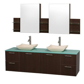 Wyndham Collection 'Amare' 72-inch Espresso/ Green Top/ Ivory Sink Vanity Set