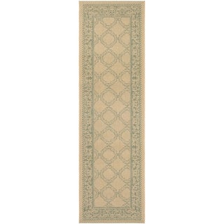 "Couristan Recife Green Lattice Natural-Green Indoor/Outdoor Runner Rug - 2'3"" x 11'9"" Runner"