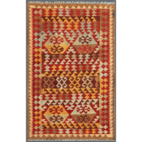 Herat Oriental Afghan Hand-knotted Mimana Kilim Red/ Ivory Wool Rug (3'10 x 5'11)