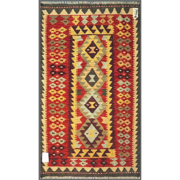 Afghan Hand-knotted Mimana Kilim Red/ Yellow Wool Rug (2'11 x 4'11)