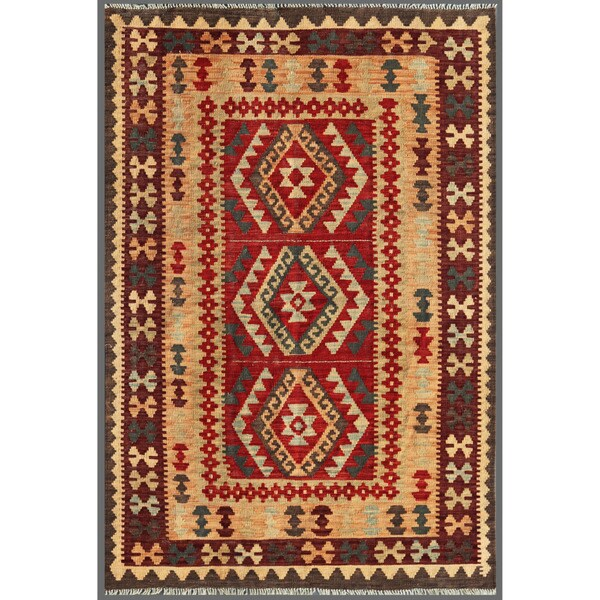 Afghan Hand-knotted Mimana Kilim Red/ Brown Wool Rug (4' x 6')