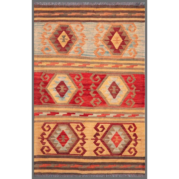 Afghan Hand-knotted Mimana Kilim Red/ Peach Wool Rug (3' x 4'8)