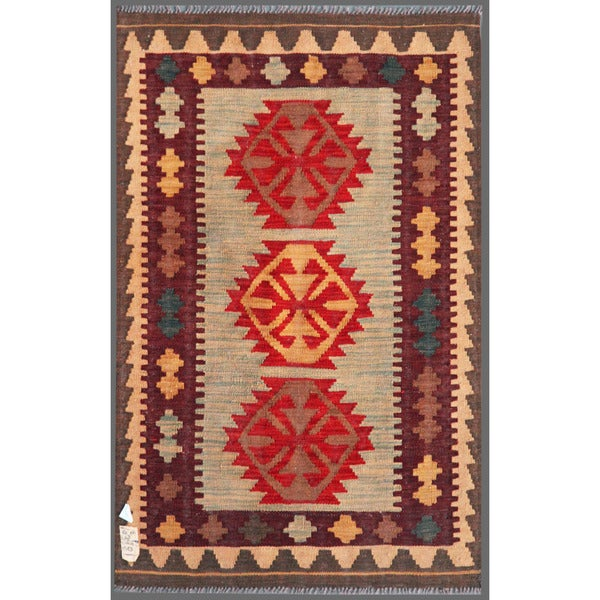 Afghan Hand-knotted Mimana Kilim Gray/ Red Wool Rug (3'1 x 4'10)