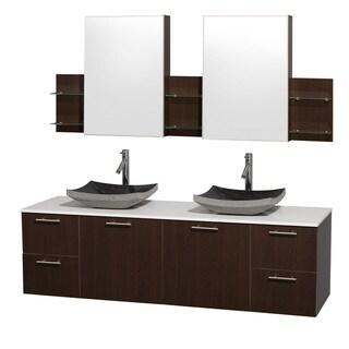 Wyndham Collection 'Amare' 72-inch Espresso/ White Top/ Granite Sink Vanity Set
