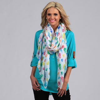 Peach Couture White with Rainbow Skulls Wrap Scarf