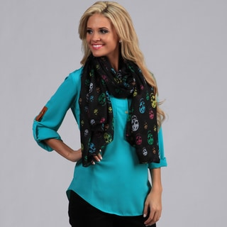 Peach Couture Black with Rainbow Skulls Wrap Scarf