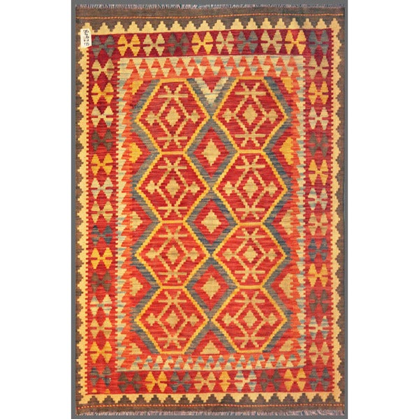 Afghan Hand-knotted Mimana Kilim Red/ Gray Wool Rug (4'2 x 6'1)
