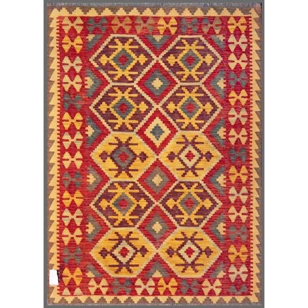 Afghan Hand-knotted Mimana Kilim Red/ Beige Wool Rug (4'1 x 5'6)
