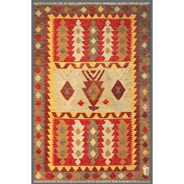 Afghan Hand-knotted Mimana Kilim Beige/ Red Wool Rug (3'11 x 5'11)