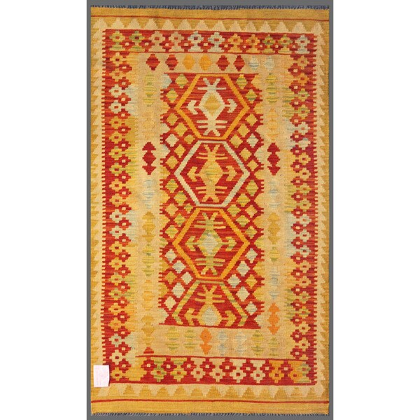 Afghan Hand-knotted Mimana Kilim Gold/ Red Wool Rug (2'11 x 5')