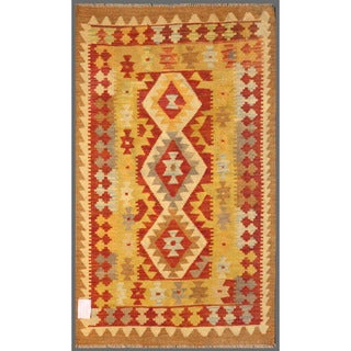 Herat Oriental Afghan Hand-knotted Wool Mimana Kilim  (2'11 x 4'10)