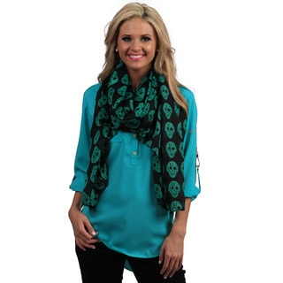 Peach Couture Black and Teal Skulls Wrap Scarf