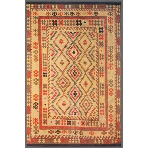 Afghan Hand-knotted Mimana Kilim Ivory/ Red Wool Rug (6'6 x 9'7)
