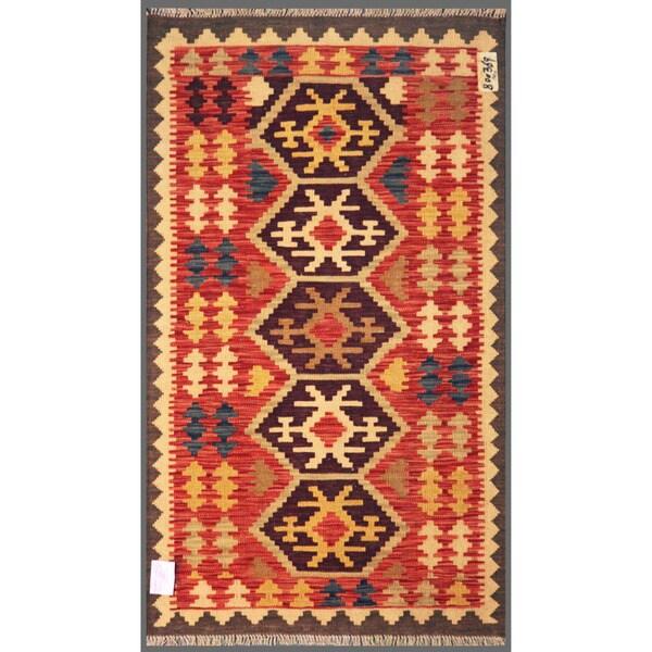 Afghan Hand-knotted Mimana Kilim Red/ Brown Wool Rug (2'11 x 4'11)