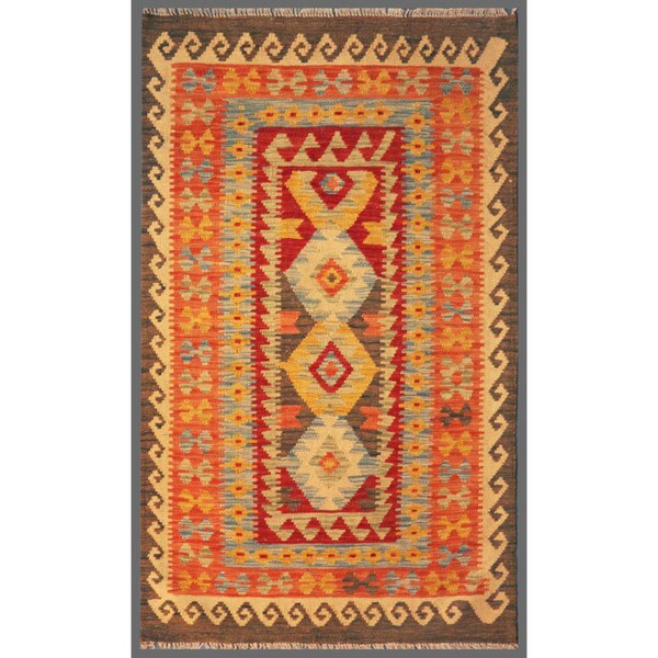 Afghan Hand-knotted Mimana Kilim Salmon/ Ivory Wool Rug (3' x 5')