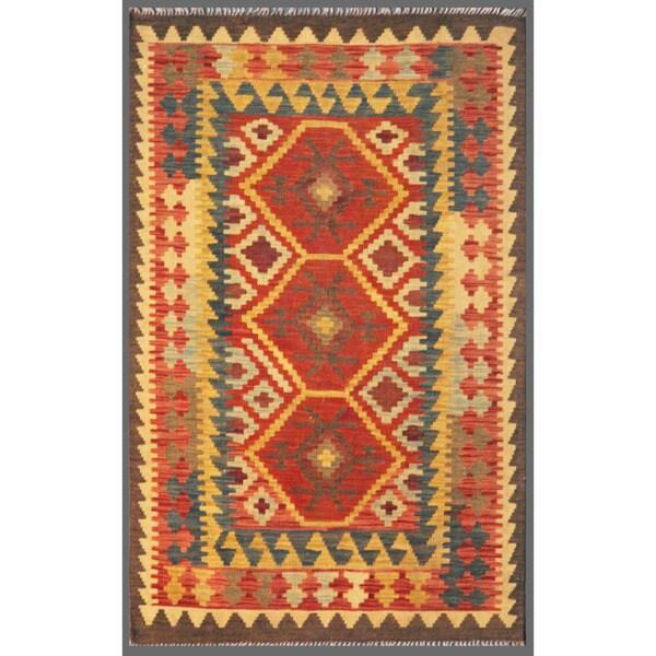 Afghan Hand-knotted Mimana Kilim Red/ Ivory Wool Rug (3'3 x 4'11)
