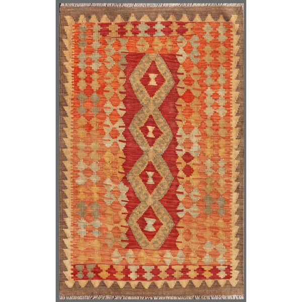 Afghan Hand-knotted Mimana Kilim Brown/ Red Wool Rug (2'10 x 4'6)