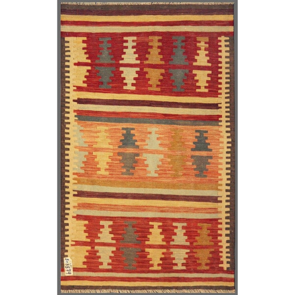 Afghan Hand-knotted Mimana Kilim Red/ Peach Wool Rug (3' x 4'11)