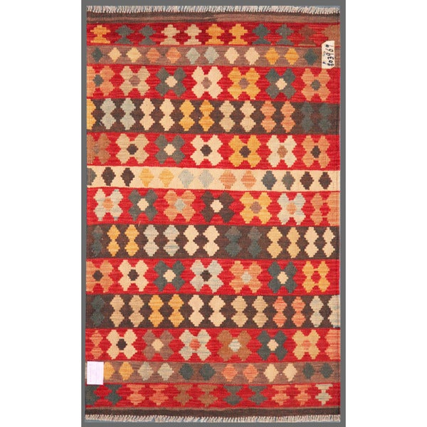 Afghan Hand-knotted Mimana Kilim Red/ Ivory Wool Rug (3'1 x 4'10)