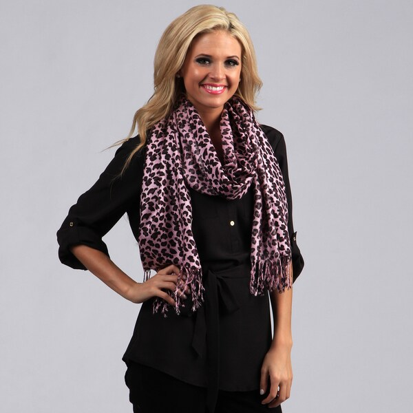 Peach Couture Pink Leopard Print Wrap Scarf. Opens flyout.