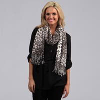 Peach Couture Grey Leopard Print Wrap Scarf