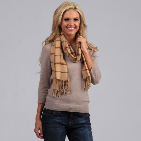 Peach Couture Plaid Fringe Detailed Scarf