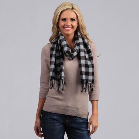 Peach Couture Grey and Black Checkered Scarf