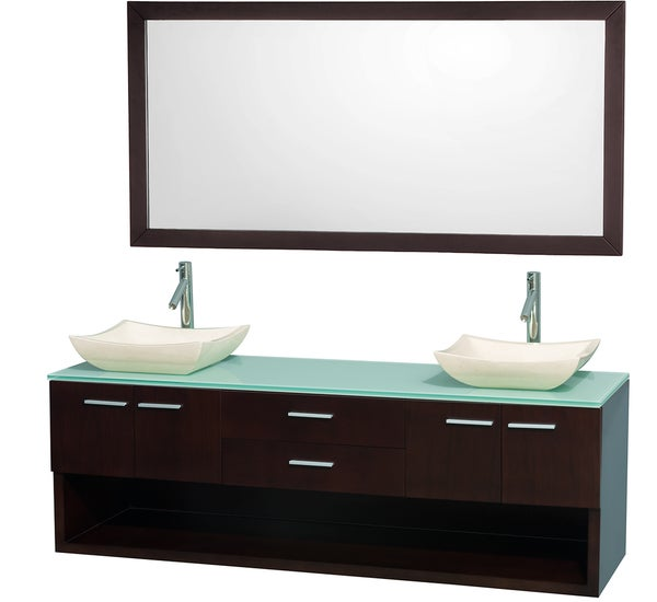 Wyndham Collection 'Andrea' 72-inch Espresso/ Green Top/ Ivory Sink Vanity Set