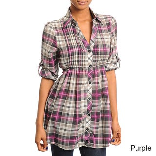 Stanzino Women's Plaid Button-down Tunic