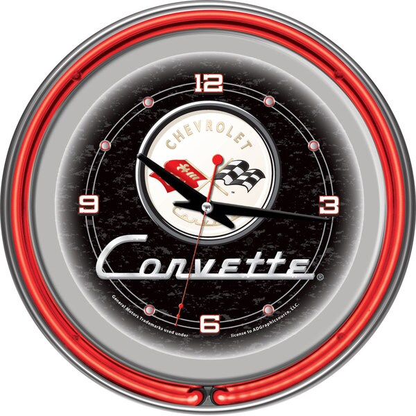 Black Corvette C1 14-inch Red Neon Clock