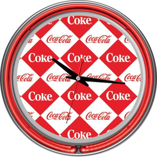 Checker Coca Cola Two Ring Neon Clock