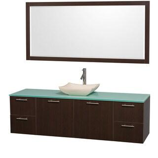 Wyndham Collection 'Amare' 72-inch Espresso/ Green Top/ Ivory Sink Vanity Set