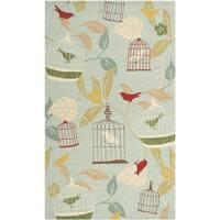 Hand-hooked Canaries Pear Indoor/Outdoor Area Rug (5' x 8')