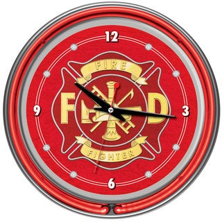 Fire Fighter Neon Wall Clock