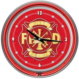 Fire Fighter Neon Wall Clock