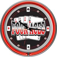 Four Aces 14-inch Neon Clock